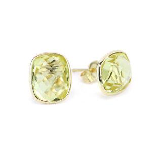 14K Yellow Gold Studs With Cushion Cut Lemon Topaz Gemstones