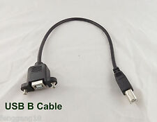 USB 2.0 B Female Socket Panel Mount To B Male Printer Extension Cable 30cm 1ft