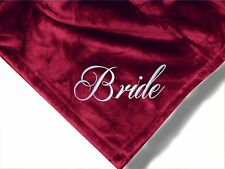 Personalized Monogrammed Throw Blanket w/ Embroidery Bride and Groom Theme