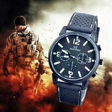 Mens Fashion Military Stainless Sport Racing Quartz Analog Wrist Watch White TR