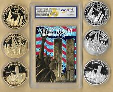 2002 23 Kt Gold World Trade Center 9/11 Patriotic Silver  Gold 6 Coin Lot Graded