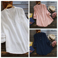 Women V Neck Long Sleeve Casual Loose Baggy Tunic Tops T Shirt Blouse Plus Size