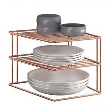 Metaltex 'Palio' 2-Tier Corner Shelf 25cm Rose Gold Polytherm Kitchen Display