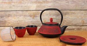 Japanese 24 FL Oz Dark Red Vintage Cast Iron Teapot set  with Infuser Trivet