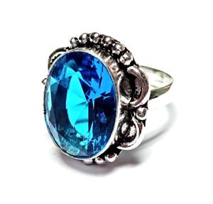 Swiss Blue Topaz Gemstone 925 Silver Jewelry Ring RR-2245