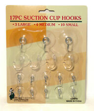 17pc Suction Cup Hook Clear Glass Window Wall Sucker Hanger Kitchen Bathroom New