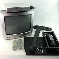 """Toshiba 13"""" CRT Tube TV Bundle DVD Swing Arm Wall Shelf Retro Gaming RV Camper"""