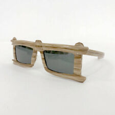 ⭕ 70s Vintage Wooden rustic sunglasses : France michele lamy alain mikli hippie