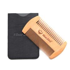 Bluezoo Anti Static Wooden Beard Comb Fine Coarse Teeth Dual-use Hair Care Tool