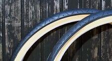 1 PAIR ( 2 TYRES ) SLICK MTB TYRES TIRES 26 x 2.10 BLACK GUM AMBER WALL LS077