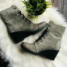 SOREL After Hours Lace Up Wedge Boots Quarry Gray Green Women's 10