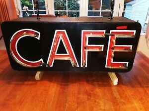 Vintage Double Sided  CAFE Neon Sign early 1950's fabulous colour