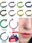 Surgical Steel Nose Stud Hoop Ring16g 18g 20g Gold Black PVD Body Piercing 1pc