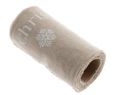 12 cm Navidad Reno & Copos de Nieve impresión Lino Mezcla Trim Rollo 2 M Blanco