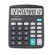 Solar Calculator Business Work Battery Powered 12 Digit Electronic Calculator