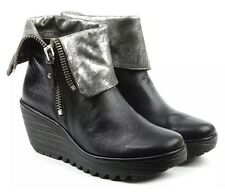 FLY LONDON 'Yex' Fold Over Wedge Booties Boots BLACK & SILVER SIZE 36 US 5.5 - 6