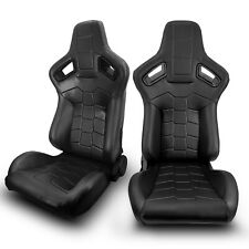 2 x Universal JDM Black PVC Main Leather Left/Right Racing Bucket Seats