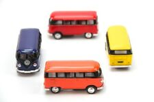 "4PC SET: 2.5"" Kinsmart 1962 VW Volkswagen Bus Diecast Model Toy Car 1:64"