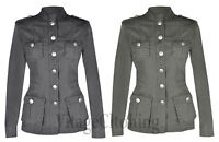 New Ladies Women's Cotton Multi Pocket Military RAW Look Summer Jacket