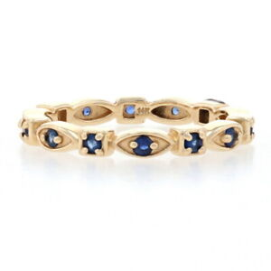 NEW Sapphire Eternity Band - 14k Yellow Gold Ring Size 7 Round Cut .38ctw