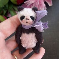 Miniature teddy bear Panda. Ooak teddy bear. Vintage looking