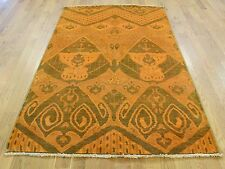 "4'1""x6'2"" Hand Knotted Orange Cast Ikat Overdyed Pure Wool Oriental Rug R35436"