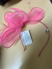 Claire's Pink hairband fascinator feather and mesh layered bow effect NEW