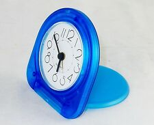 Pocket Travel Alarm Clock ~ Analog Face, Snooze Button, Translucent Blue, #TC-03