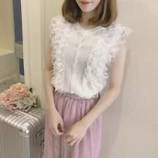 Fashion Sleeveless Lace Solid Tanks - White