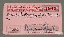 Original 1942 Canadian-American Baseball League Pass