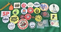 lot of 20 Railroad Train Railway Pinback Buttons & 8 Misc Items