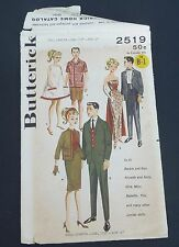 Vintage Butterick 2519 boy girl doll pattern for Barbie Ken etc.; cut