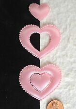 20 Hearts Pink fabric nesting heart Valentine wedding baby girl Shower scrapbook