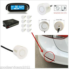 White 8 Parking Sensors Car Reverse Backup Radar Dual Core LCD Display Alert Kit