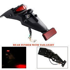 1X Universal Motorcycle Trial Dirt Bike Fender W/ LED Stop Rear Tail Light Lamp