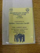 1984 Fixture List: Glamorgan County Cricket Club - Fold Out Card. Any faults wit