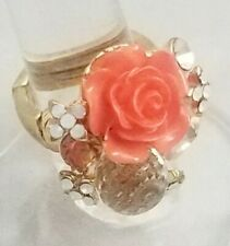 """Peach Rose Flower Gold Large Cocktail Ring Crystal 1"""" Plated Stretch Band"""