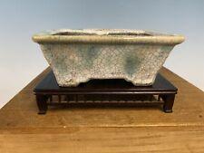 "Shohin Bonsai Tree Pot Made By Bunzan 5 3/4"" White Blue Crackle Glaze"