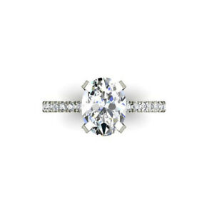 2.30 Carat Oval Diamond Solitaire Ring Real 14K White Gold Ring Size N J M I O P