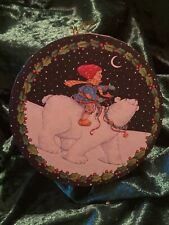 Vintage 1995 Mary Engelbreit Christmas Gift Box Ornament Round 4� Let It Snow