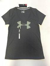 Under Armour Women HeatGear Anti-Odor UA Big Logo Loose SS V-Neck Shirt SMALL