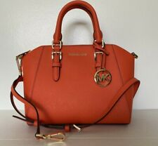 New Michael Kors Ciara Medium Messenger handbag Leather Clementine
