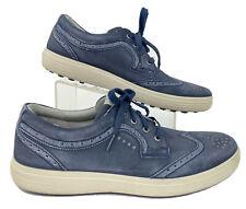 Ecco Men's 13 E Blue Brogue Wing Tip Almond Toe Hydromax Oxford Golf Sneakers