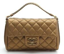 Chanel Gold Quilted Leather Small Convertible Flap Bag 15K NEW $3,000
