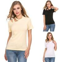Women O-Neck Short Sleeve Cut Out Solid Summer Casual T-Shirt LB6Y