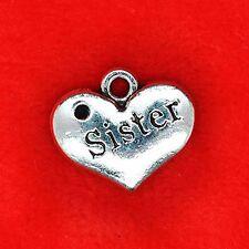 6 x Tibetan Silver Sister Love Heart Charm Pendant Jewellery Making