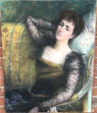 """Escuela francesa (C19th) """"Lady sentado"""" Aceite Y Pastel Firmado Clara-PARIS 1898"""