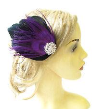 Purple Black Silver Peacock Feather Fascinator Vintage Hair Clip 1920s 30s 1176