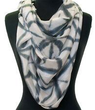 "Grey & White Hand-Dyed Japanese Style Shibori Silk Scarf 72"" x 20"" Chiffon"