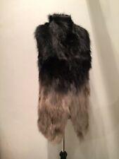 Black Beige Raccoon Fox Fur Waistcoat Gilet Vest UK8